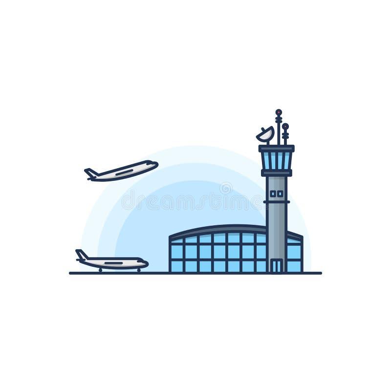 Huvudsaklig terminal för flygplats med flygplanet på den vita bakgrunden också vektor för coreldrawillustration arkivfoto