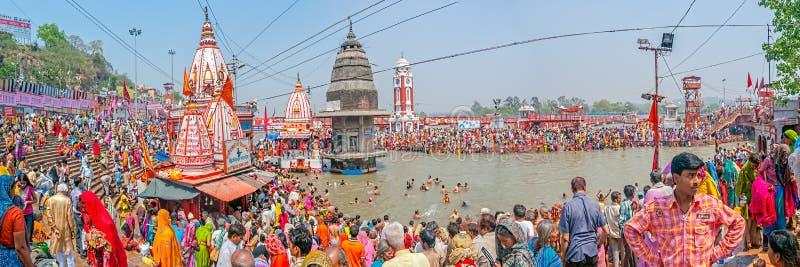 Huvudsakliga bada Ghat i Haridwar fotografering för bildbyråer