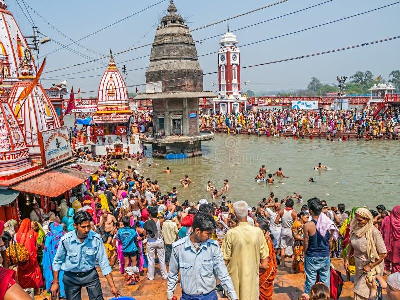 Huvudsakliga bada Ghat i Haridwar royaltyfri fotografi