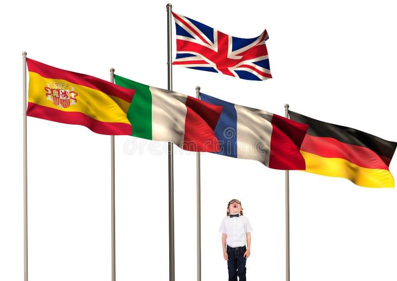 huvudsakliga språkflaggor över pojken som ser upp royaltyfri foto