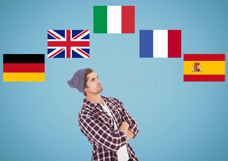 huvudsakliga språkflaggor runt om att tänka för ung man background card congratulation invitation royaltyfria bilder