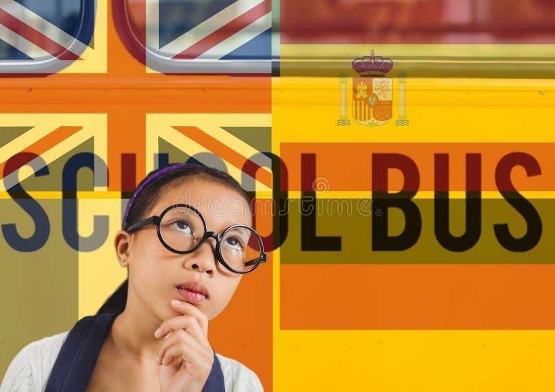 huvudsakliga språkflaggor runt om flicka Skolbussbakgrund royaltyfria foton