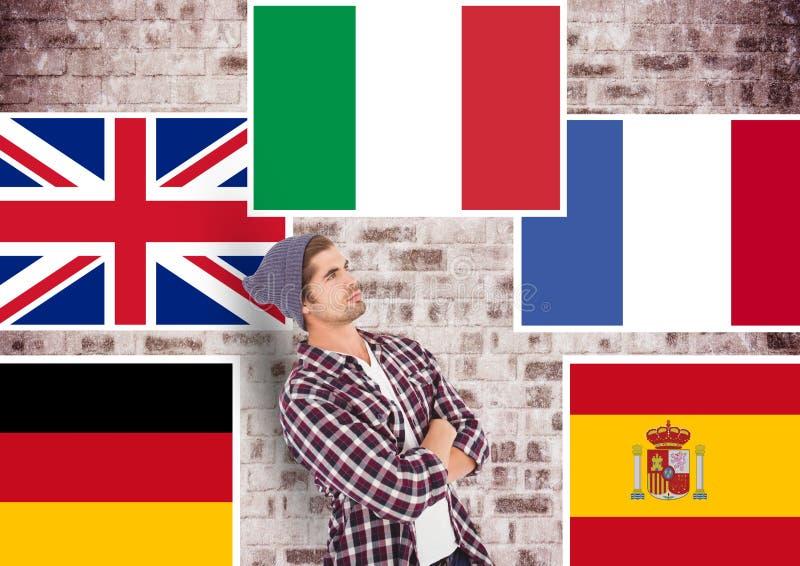 huvudsakliga språkflaggor runt om ung man vägg för rastre för bakgrundstegelstenbild stock illustrationer