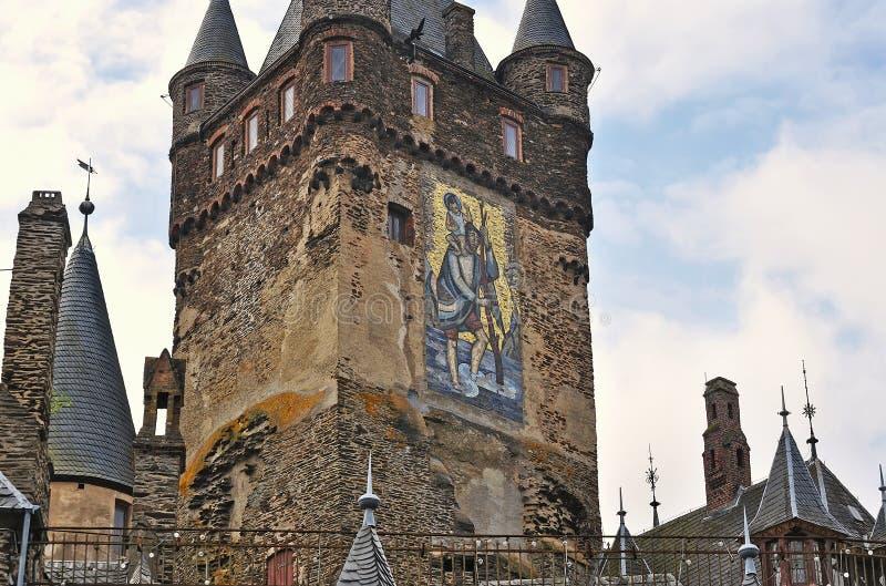 Huvudsakligt torn för Cochem slott arkivfoto