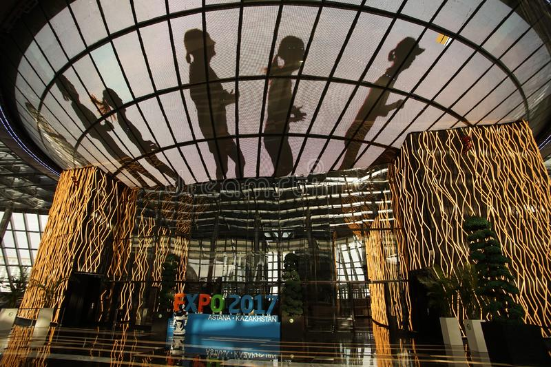 Huvudstad för område för expo för Astana representativ byggnadsutställning av kazakhstan royaltyfria bilder