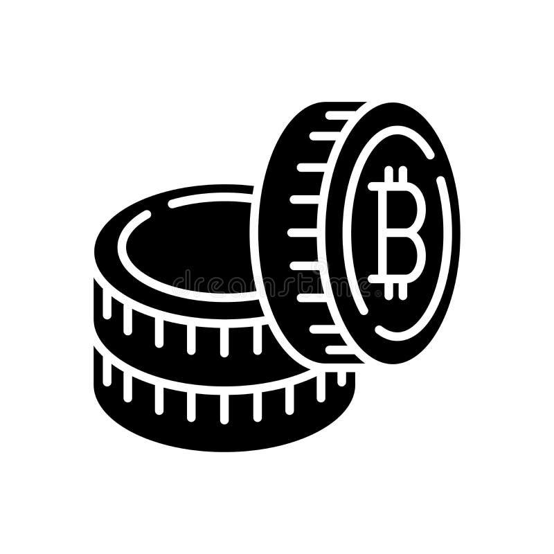 Huvudstad i svart symbolsbegrepp för bitcoins Huvudstad i bitcoins sänker vektorsymbolet, tecknet, illustration royaltyfri illustrationer