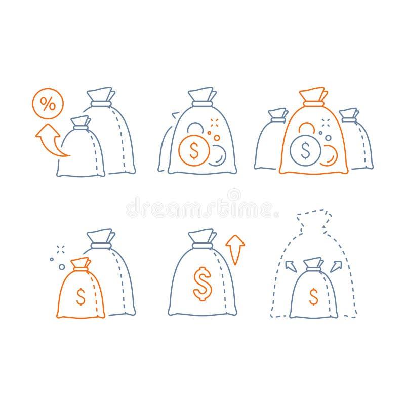 Huvudtillväxt, högt intresse, inkomstförhöjning, den långsiktiga investeringen, finansiell vinst, gör pengar, att lyfta för fond, royaltyfri illustrationer