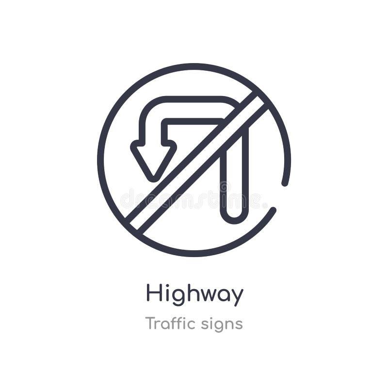 huvudvägöversiktssymbol r redigerbar tunn slaglängdhuvudvägsymbol på vit vektor illustrationer