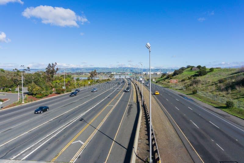 Huvudväg i San Francisco Bay Area, Fremont, Kalifornien arkivfoton