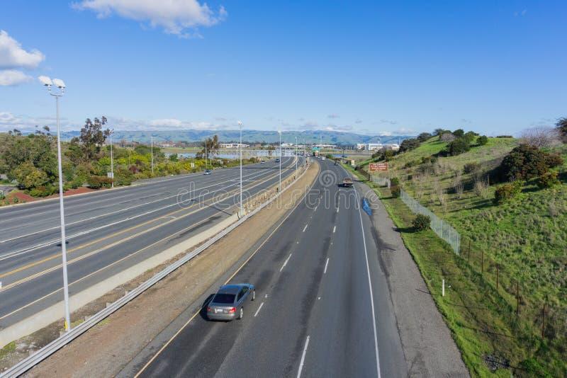 Huvudväg i San Francisco Bay Area, Fremont, Kalifornien arkivfoto