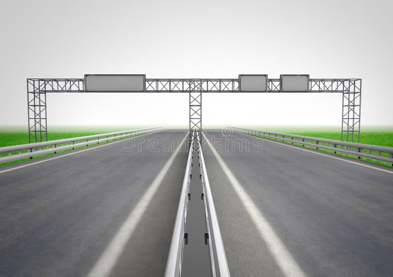 Huvudväg med signposten på konstruktionsbegrepp royaltyfri illustrationer