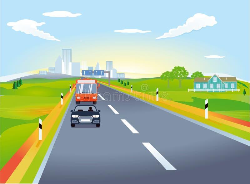 Huvudväg med trafik stock illustrationer