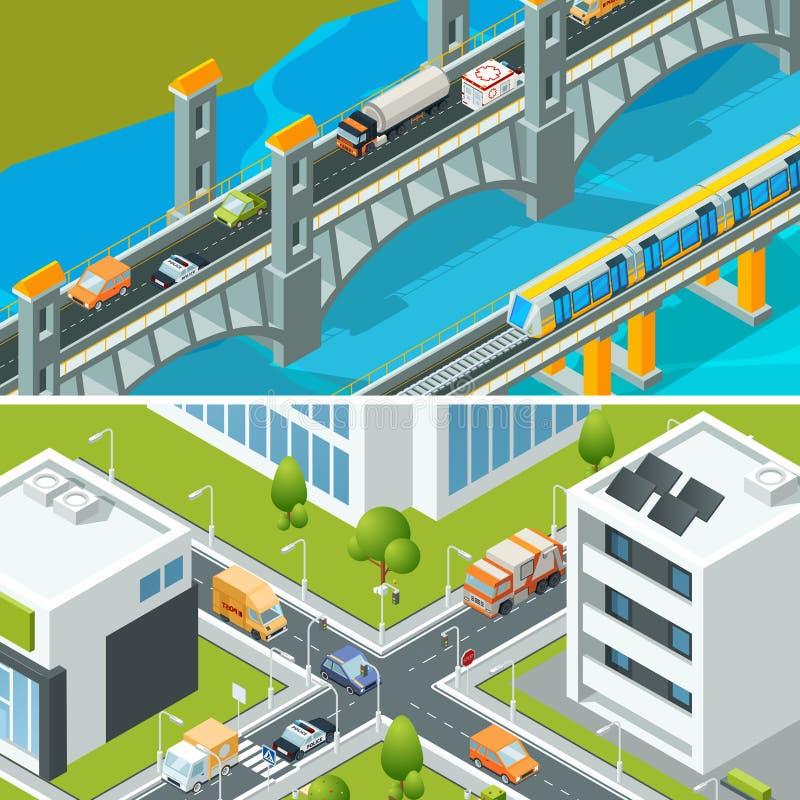 Huvudväggenomskärningstrafik Stads- landskap som är isometriskt med illustrationen för vektor 3d för stad för olika medelbilbussa vektor illustrationer