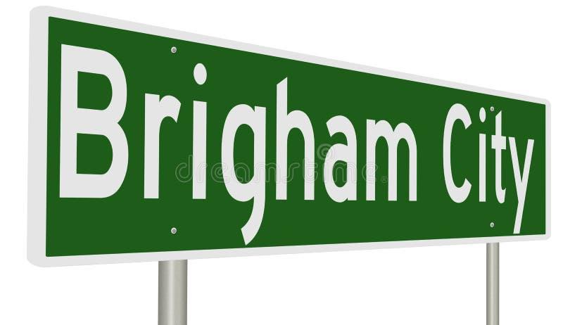 Huvudvägtecken för Brigham City Utah vektor illustrationer