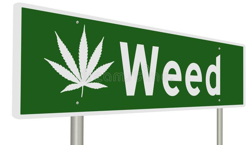 Huvudvägtecken för ogräset Kalifornien med marijuanabladet royaltyfri illustrationer