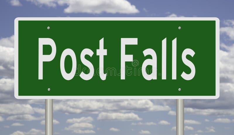 Huvudvägtecken för Post Falls Idaho vektor illustrationer