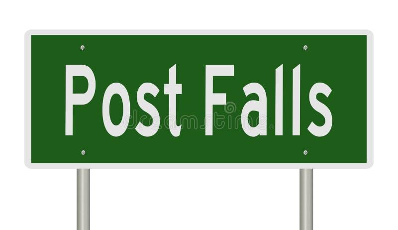Huvudvägtecken för Post Falls Idaho royaltyfri illustrationer