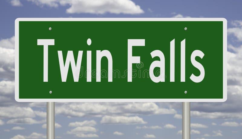 Huvudvägtecken för Twin Falls Idaho stock illustrationer
