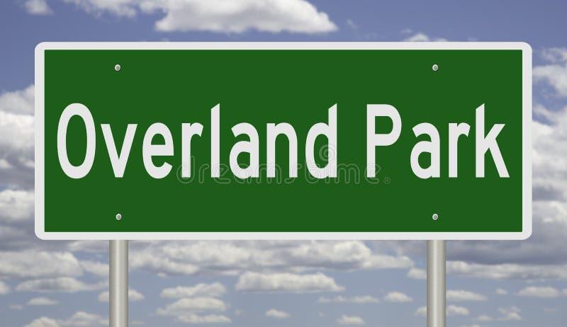 Huvudvägtecknet för Overland parkerar Kansas arkivfoton