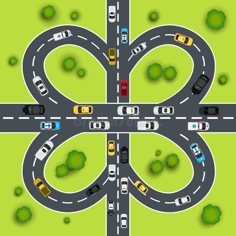 Huvudvägtrafikillustration vektor illustrationer
