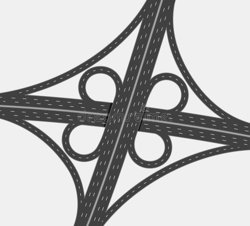 Huvudvägtvärgata, jämn föreningspunkt för trafik två, fyrvägsintercha vektor illustrationer