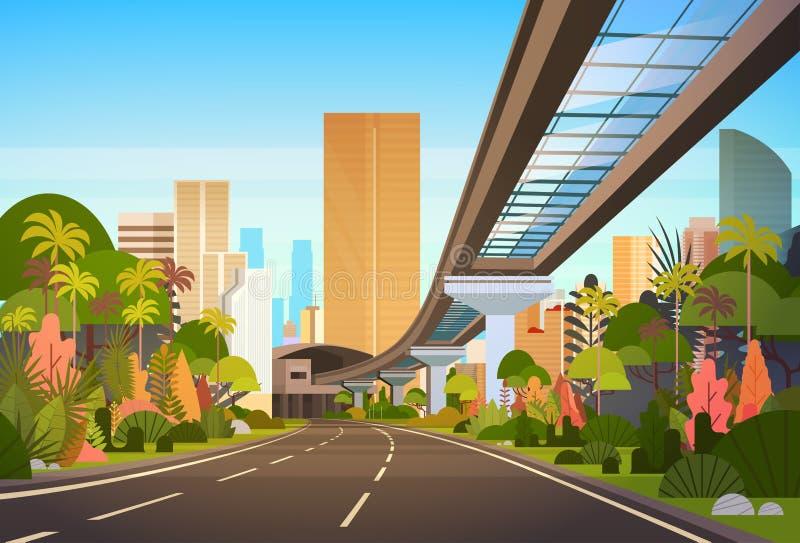 Huvudvägväg till stadshorisont med moderna skyskrapor och järnväg Cityscapesikt royaltyfri illustrationer
