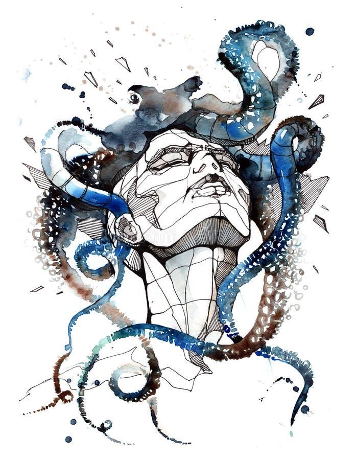 Huvudvärk royaltyfri illustrationer