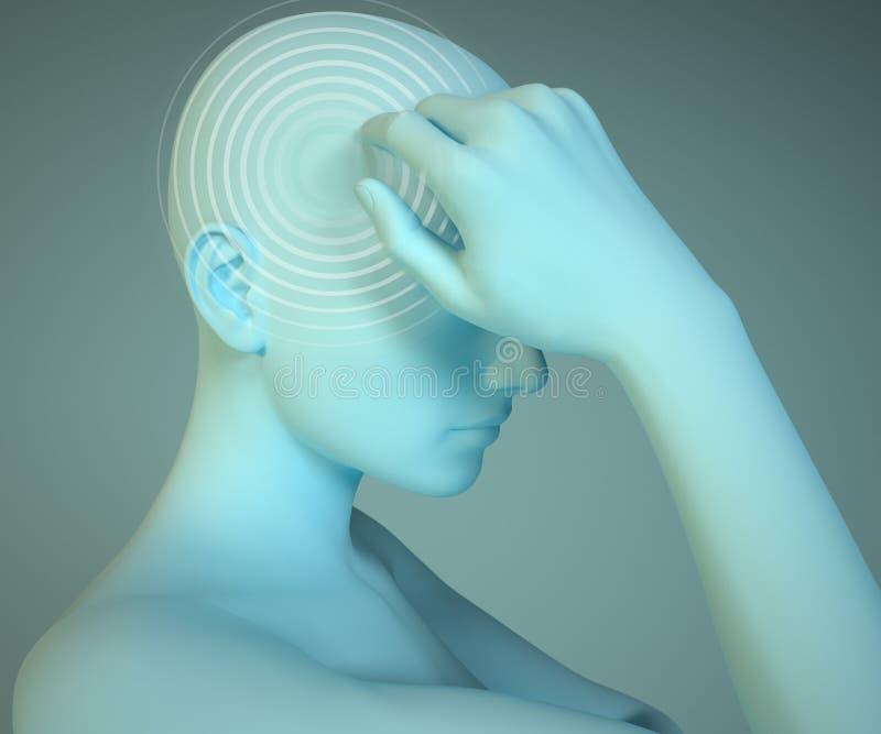 Huvudvärk anatomi, head hjärnsjukdom stock illustrationer