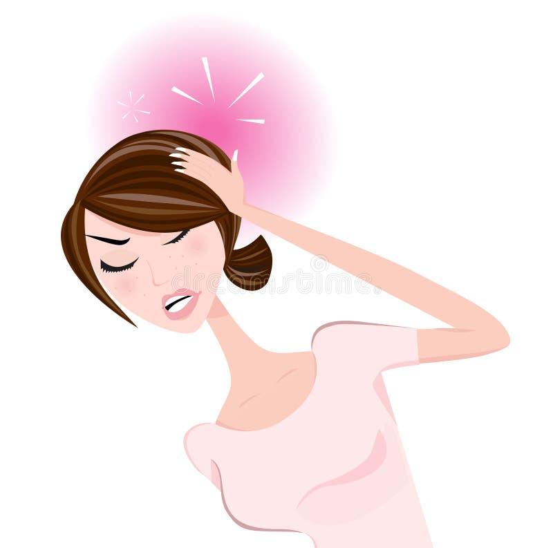 huvudvärkkvinna stock illustrationer