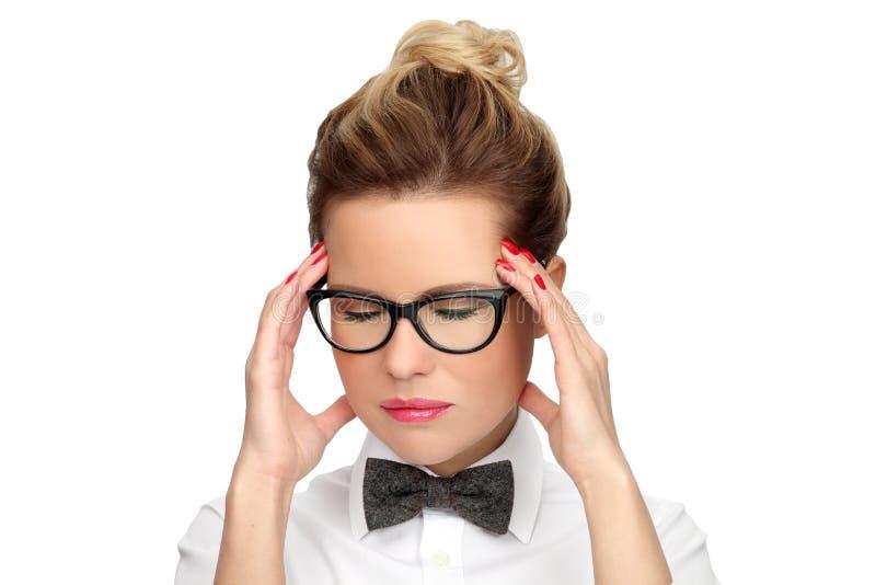 Huvudvärkmigränfolk Begrepp - problem, trötthet, spänning och huvudvärk arkivbild