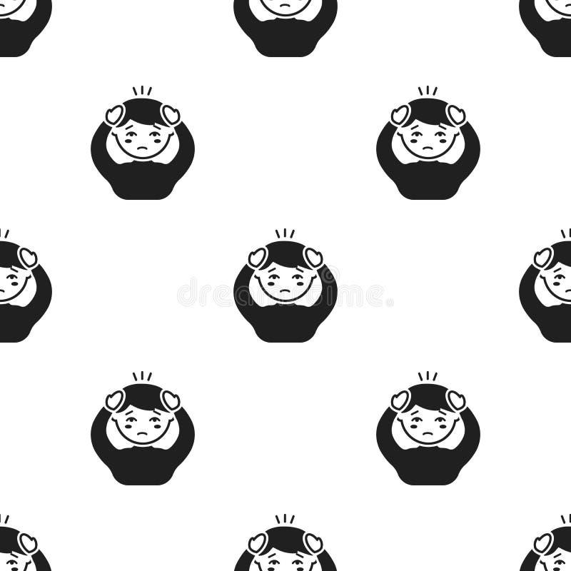 Huvudvärksymbolssvart Enkel sjuk symbol från det stort dåligt, sjukdomsvart stock illustrationer