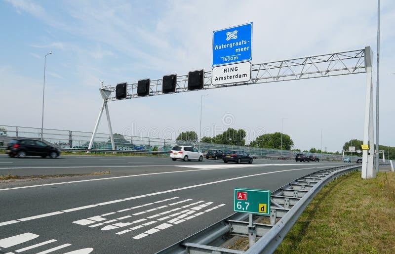 Huvudv?g A1 i Nederl?nderna arkivfoton