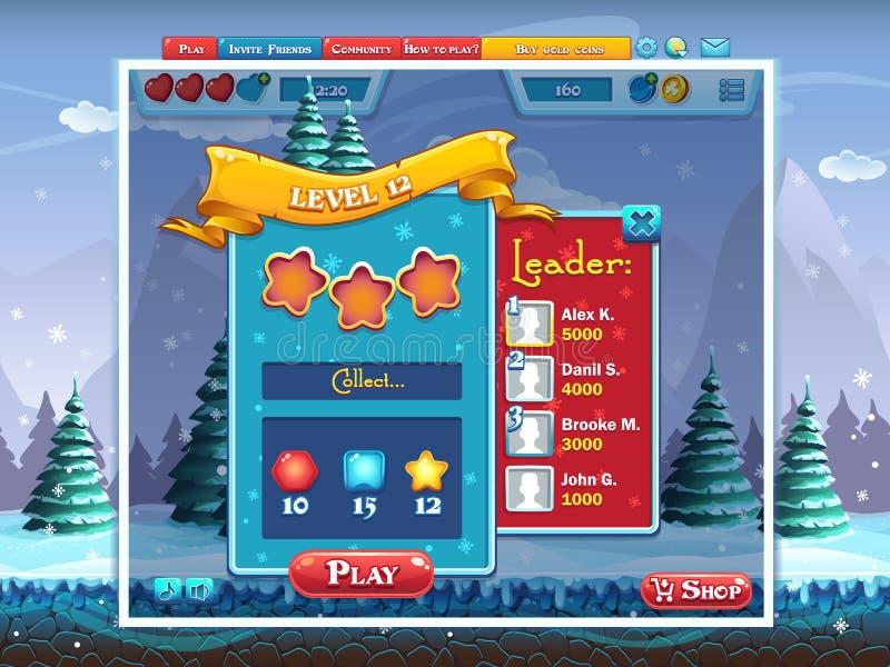 Huw Kerstmis - de voorbeeldtaken voeren het spel van de niveaucomputer uit royalty-vrije illustratie