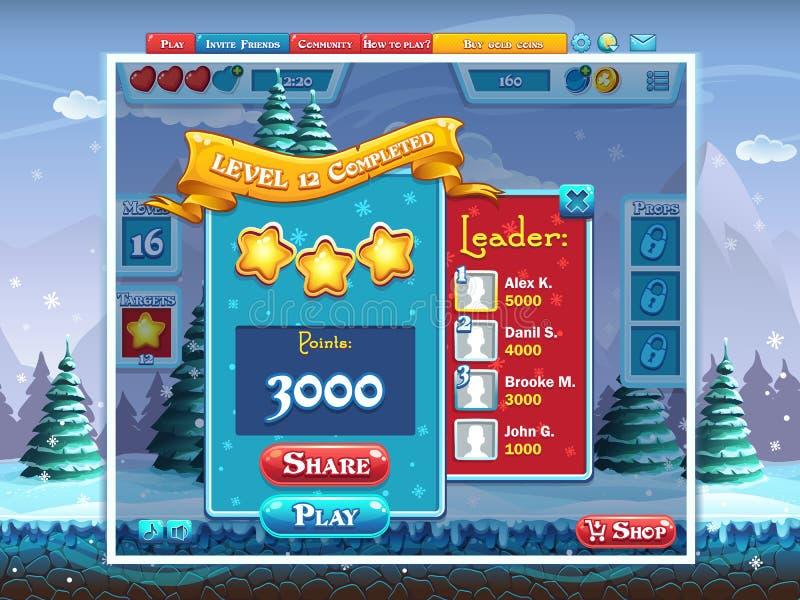 Huw Kerstmis - voorbeeld voltooiend het spel van de niveaucomputer stock illustratie