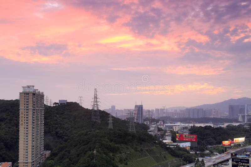 Huwei hill residential area sunset. Huwei hill and the residential area at the foothills at seaside, amoy city, china stock images