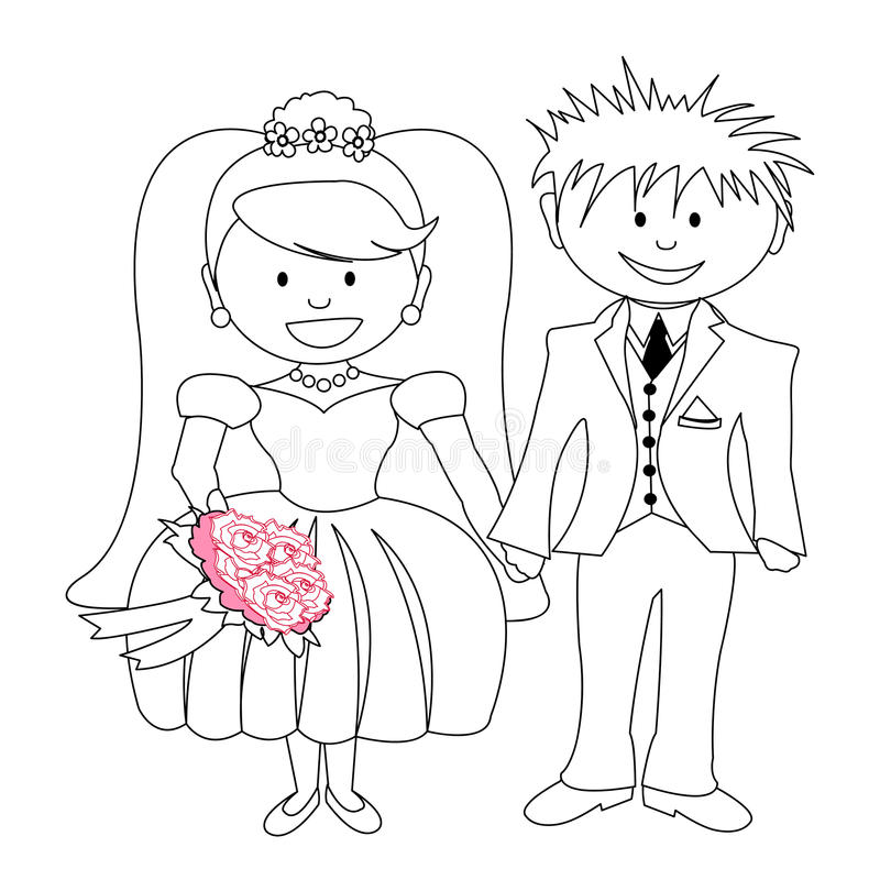 Huwelijk - beeldverhaalbruid en bruidegom vector illustratie