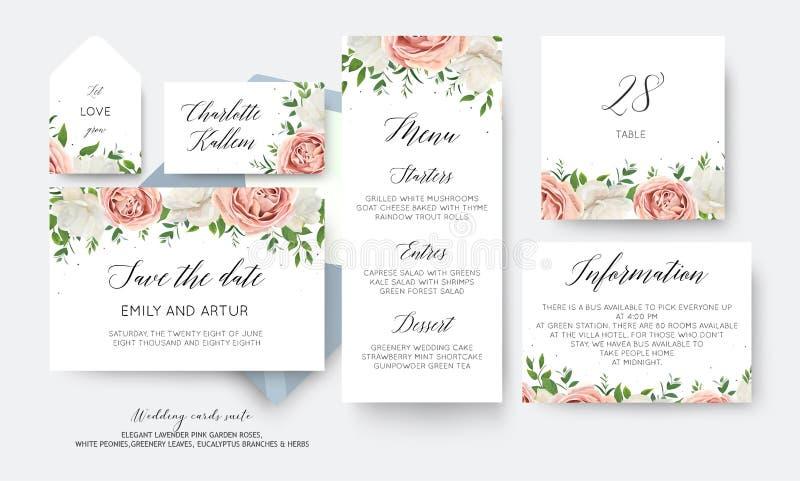 Huwelijk bloemen sparen de datum, menu, etiket, grote de kaart van het lijstaantal vector illustratie