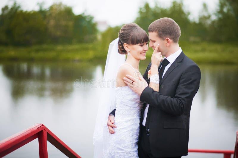 Huwelijk dat van bruid en bruidegom in park is ontsproten stock foto