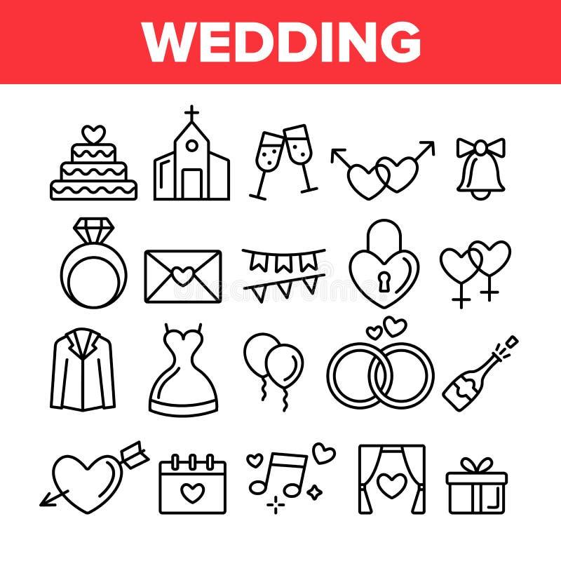 Huwelijk en het In dienst nemen Vector Lineaire Geplaatste Pictogrammen royalty-vrije illustratie