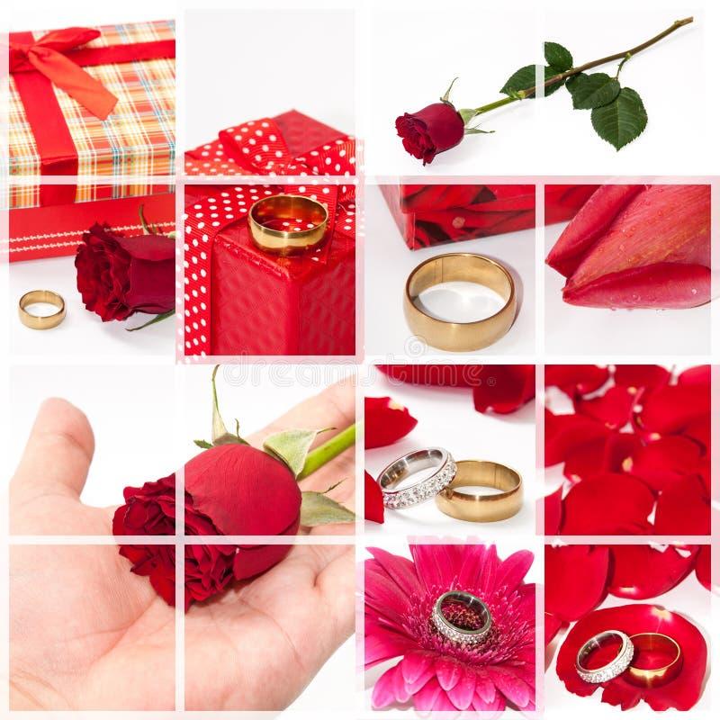 Huwelijk en Romaanse conceptencollage royalty-vrije stock foto