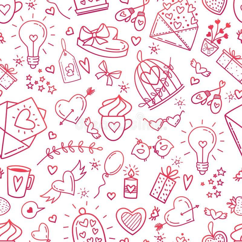Huwelijk en van de Valentijnskaartendag pictogrammen stock illustratie