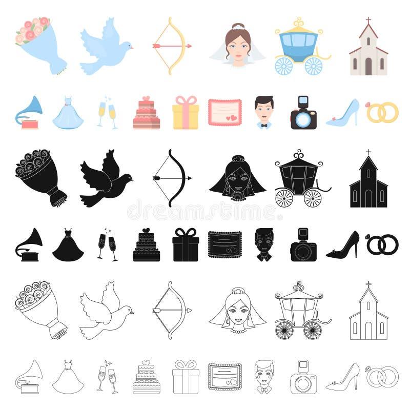 Huwelijk en van het Attributenbeeldverhaal pictogrammen in vastgestelde inzameling voor ontwerp Jonggehuwden en Toebehoren het ve stock illustratie