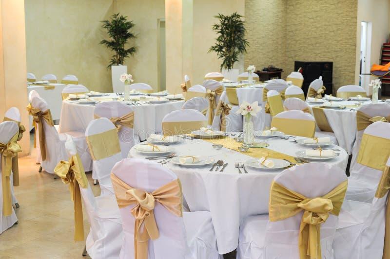 Huwelijk Hall Setup royalty-vrije stock afbeeldingen