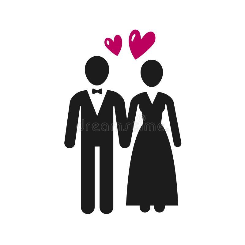 Huwelijk, huwelijksembleem of etiket Jonggehuwden, bruid en bruidegompictogram Vector illustratie vector illustratie