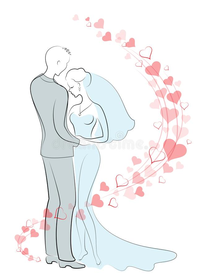Huwelijk Jonge bruid en leuke bruid Gelukkige verhouding en liefdevriend en meisje Achtergrond van rode harten Vector vector illustratie
