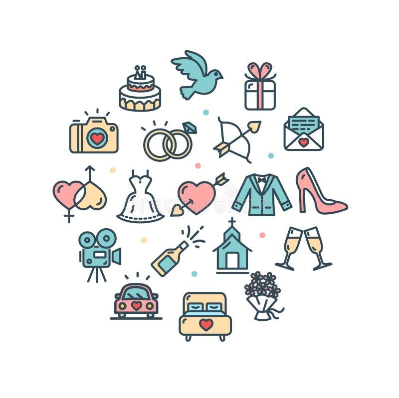 Huwelijk om Dun de Lijnpictogram van het Ontwerpmalplaatje Vector stock illustratie