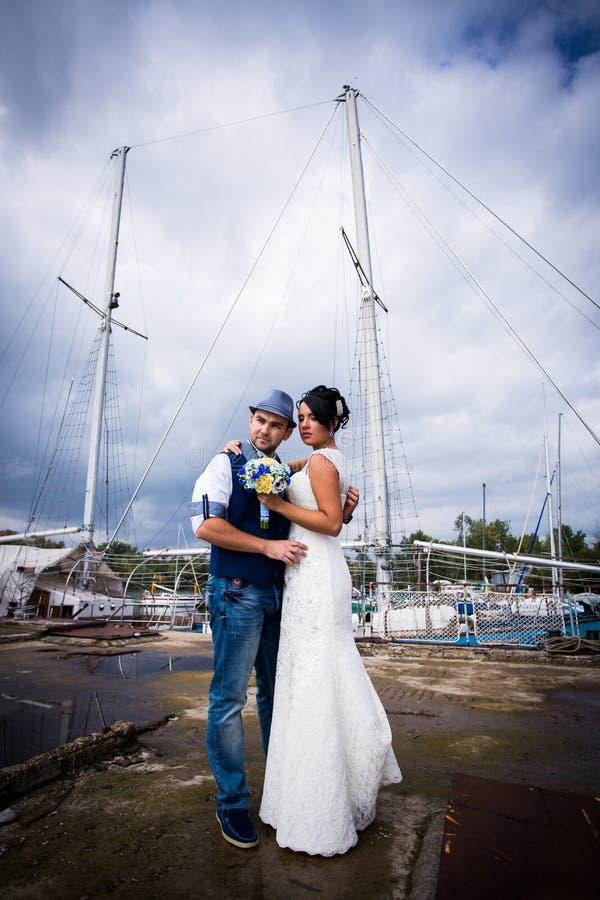 Huwelijk, stijl, jacht stock foto's