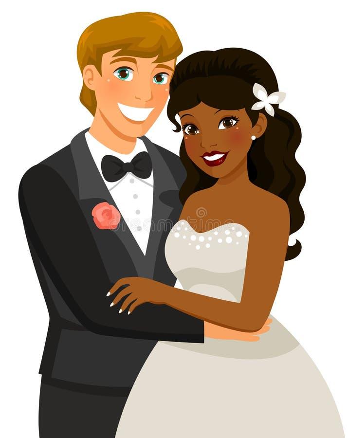 Huwelijk tussen verschillende rassen royalty-vrije illustratie
