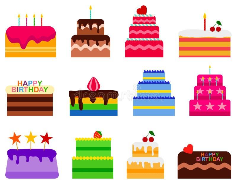 Huwelijk of Verjaardags de vector geplaatste pictogrammen van pasteicakes Het dessertbakkerij van cakesnoepjes in vlakke stijl He stock illustratie