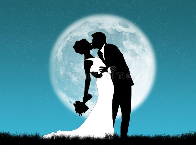 Huwelijken in de maan royalty-vrije illustratie
